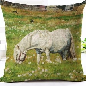 Other - Pillow Cover- New- Horse Grazing in Country Farm